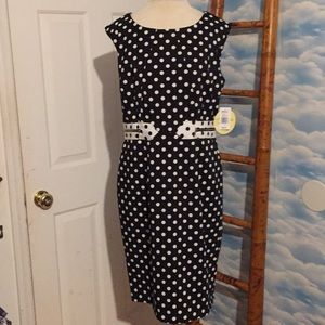 NWT Emma&Michelle 10 black & white polka dot dress